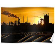 Industrial landscape at sunset Poster