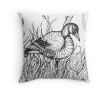Pen and Ink Canadian Goose - Heather Lynn White Throw Pillow