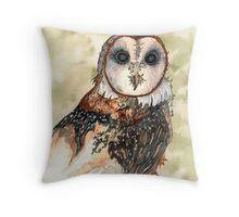 Barn Owl Watercolor - Heather Lynn White Throw Pillow