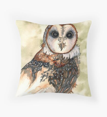 Barn Owl Watercolor - Heather Lynn White Throw Pillow