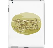 Farmer and Horses Plowing Field Oval Etching iPad Case/Skin