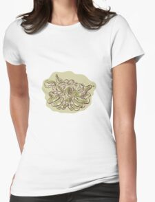 Hand Holding Crop Fruit Harvest Etching Womens Fitted T-Shirt