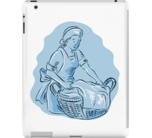 Laundry Maid Basket Vintage Etching iPad Case/Skin