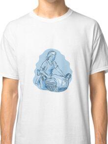 Laundry Maid Basket Vintage Etching Classic T-Shirt