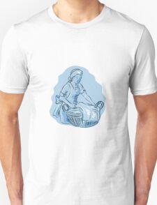 Laundry Maid Basket Vintage Etching T-Shirt
