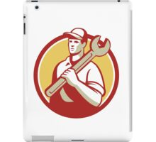 Mechanic Worker Holding Spanner Circle Retro iPad Case/Skin