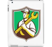 Mechanic Worker Holding Spanner Shield Retro iPad Case/Skin