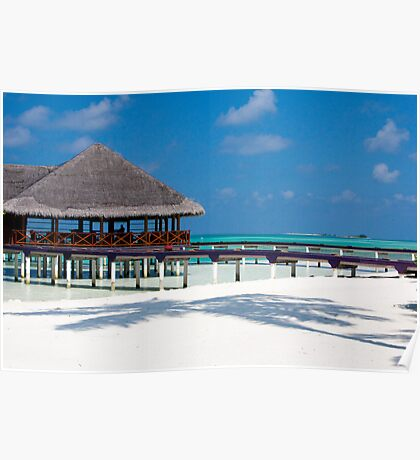 Beach Bar Over Water Medhufushi Maldives Poster