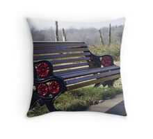 The red and black bench Throw Pillow