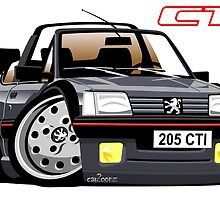 Peugeot 205 CTI caricature grey by car2oonz