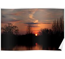 Sunset on the River Thames Poster