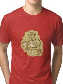 Waitress Pouring Tea Cup Vintage Etching Tri-blend T-Shirt