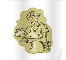 Waitress Pouring Tea Cup Vintage Etching Poster