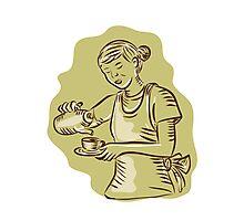 Waitress Pouring Tea Cup Vintage Etching Photographic Print