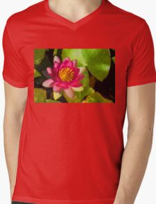 Waterlily Impression in Fuchsia and Pink Mens V-Neck T-Shirt