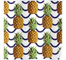 Pineapple and wave stripes Poster