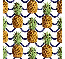 Pineapple and wave stripes Photographic Print