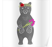 Grey bear standing Poster
