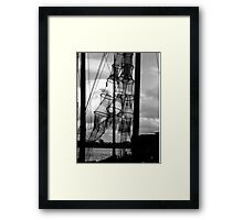 Fishing nets in sun at the river IJssel Netherlands Framed Print