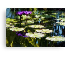 Waterlilies - Sunny Green and Purple Impressions Canvas Print