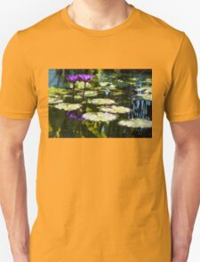 Waterlilies - Sunny Green and Purple Impressions T-Shirt
