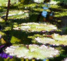 Waterlilies - Sunny Green and Purple Impressions Sticker