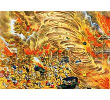 The whirlwind of fire attacked Yoshiwara street Photographic Print
