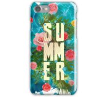 Summer collage with flowers and palm trees iPhone Case/Skin