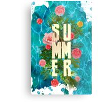 Summer collage with flowers and palm trees Metal Print