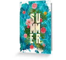 Summer collage with flowers and palm trees Greeting Card