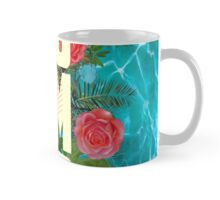 Summer collage with flowers and palm trees Mug