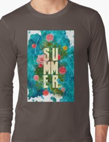 Summer collage with flowers and palm trees Long Sleeve T-Shirt