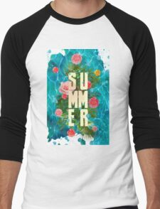 Summer collage with flowers and palm trees Men's Baseball ¾ T-Shirt