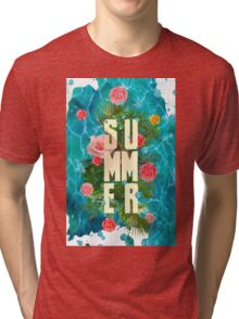 Summer collage with flowers and palm trees Tri-blend T-Shirt