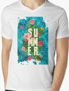 Summer collage with flowers and palm trees Mens V-Neck T-Shirt