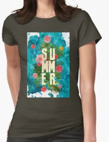 Summer collage with flowers and palm trees Womens Fitted T-Shirt