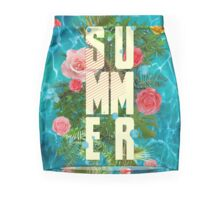 Summer collage with flowers and palm trees Pencil Skirt