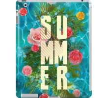 Summer collage with flowers and palm trees iPad Case/Skin
