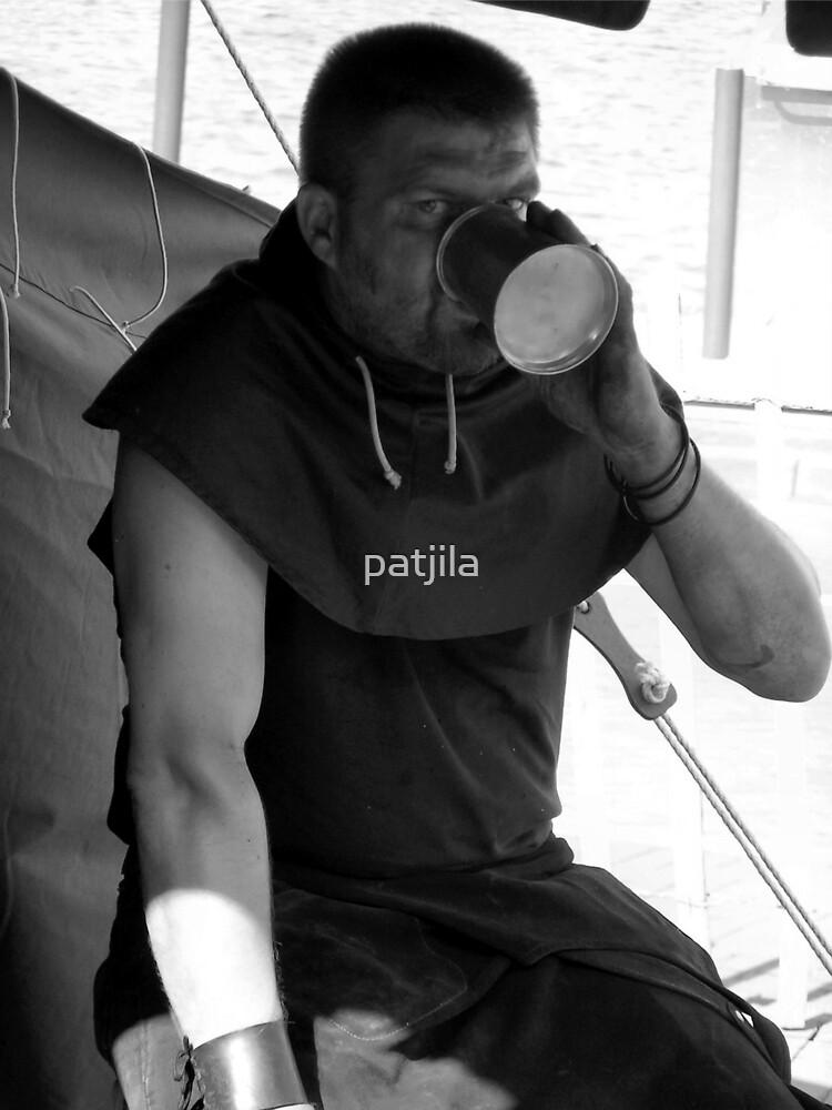 Blacksmith having a break on a hot Summer day. by patjila