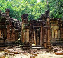 Antique Temple in the Jungle - Angkor, Cambodia.  by Tiffany Lenoir