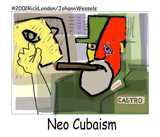 Picasso's Castro (Neo-Cuba-ism) by Londons Times Cartoons by Rick  London