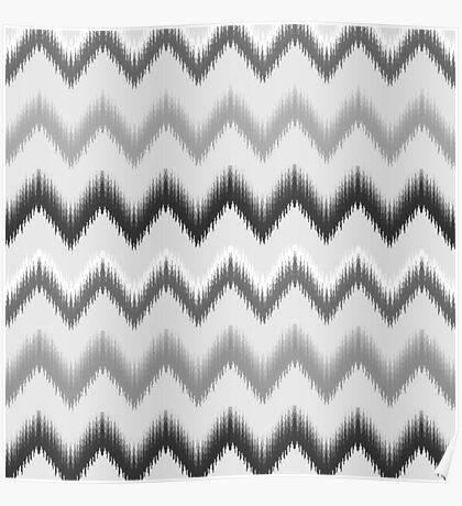 Modern black white gray ikat pattern Poster