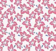 Trendy pink blue abstract tropical flowers by Maria Fernandes