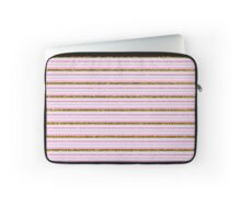 Vintage girly pink gold faux glitter stripes Laptop Sleeve