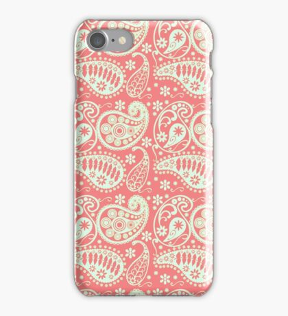 Vintage coral green floral paisley pattern iPhone Case/Skin