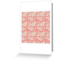 Vintage coral green floral paisley pattern Greeting Card