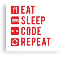 Eat Sleep Code Repeat  Canvas Print