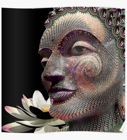 Fractal carving Buddha Poster