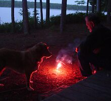 Ken and Dixie - Contemplating the Fire by MaryinMaine