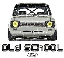 Classic Ford Escort MK1 Old School Distressed T-Shirt Photographic Print